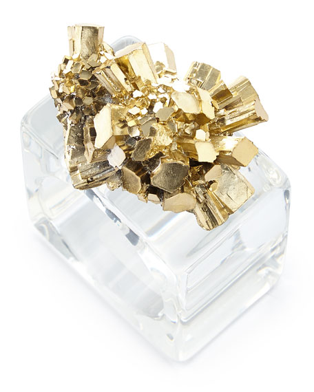 """Set of 4 Golden """"Geode"""" Napkin Rings"""