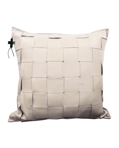 Cream Trenza Woven Leather Pillow
