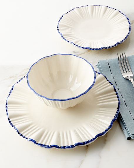 12-Piece Blue-Rim Fluted Dinnerware Service