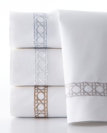Queen 4-Piece Cane-Embroidered 400 Thread-Count Sheet Set