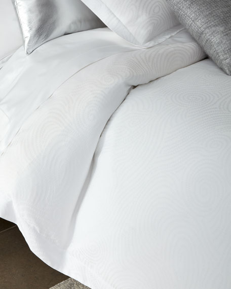 SFERRA Full/Queen Winter White Scroll Duvet Cover