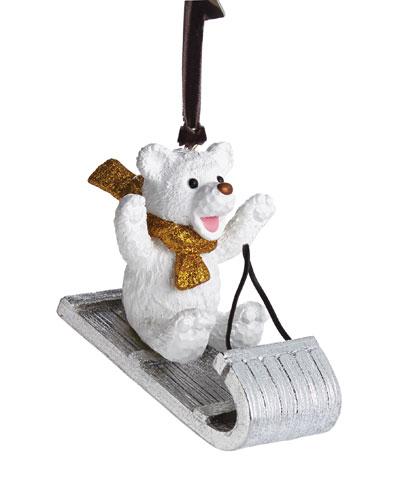 Sledding Teddy Bear Ornament