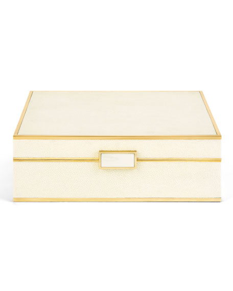 Large Faux-Shagreen Jewelry Box
