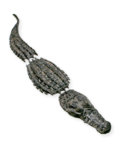 Large Three-Piece Bronze Crocodile Sculpture