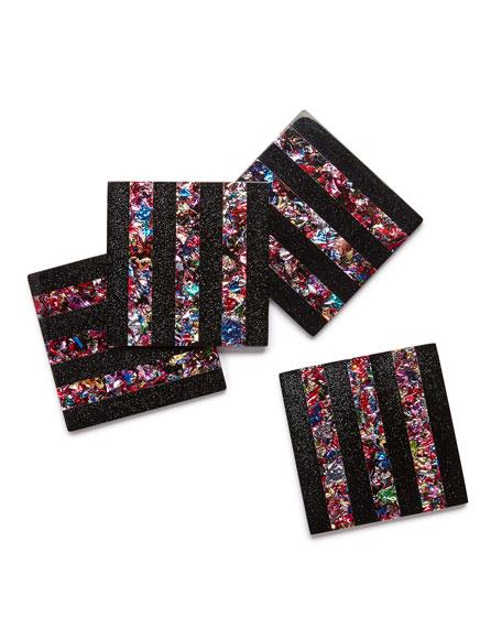 Striped Square Acrylic Coaster Set