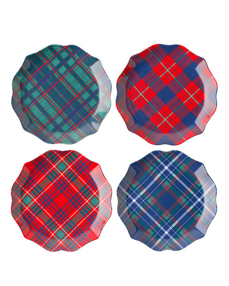 New Trad Tartan Tidbit Plates, Set of 4
