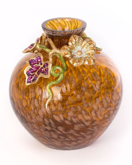 Jay Strongwater Leaf & Flower Mini Vase