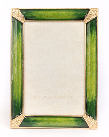 Jay Strongwater Leland Pave Corner Picture Frame, Emerald,