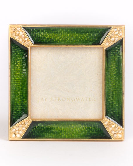 Jay Strongwater Leland Pave Corner Square Frame, Emerald