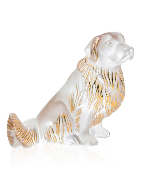 Lalique Crystal Golden Retriever Dog Sculpture