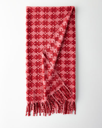 Houndstooth Throw  Rose