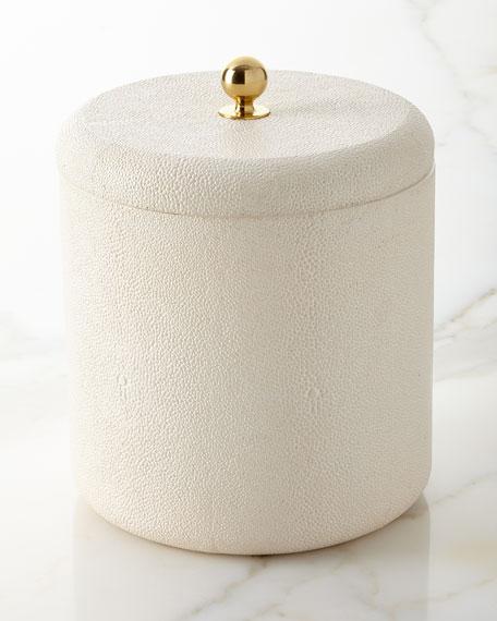 Faux-Shagreen Ice Bucket, Cream