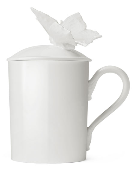 Porcelain Mug with Butterfly Lid
