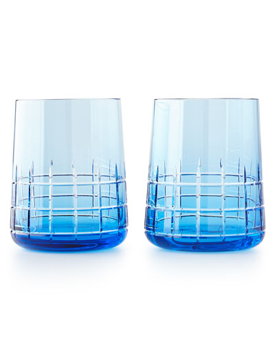 Graphik Stemless Goblets, Set of 2, Blue