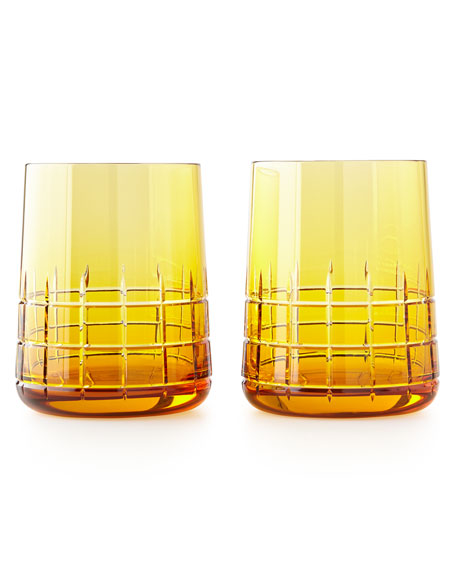 Graphik Stemless Goblets, Set of 2, Amber