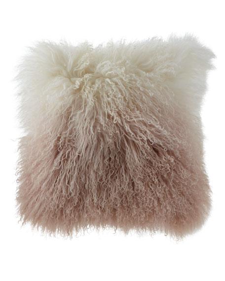 "Dip Dye Curly Sheepskin Pillow, 18""Sq."