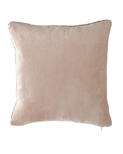 Beaded-Edge Velvet Pillow in Blush, 18