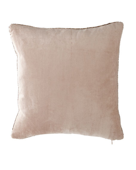 "Beaded-Edge Velvet Pillow in Blush, 18"" Square"