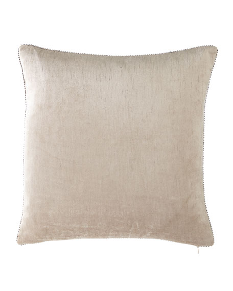"""Beaded-Edge Velvet Pillow in Ivory, 18"""" Square"""