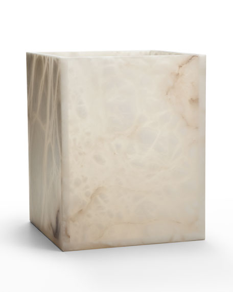Alisa Alabaster Wastebasket, Cream
