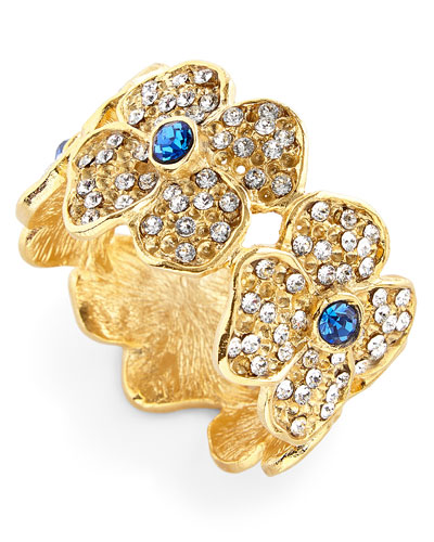 Daisy Flower Napkin Rings with Blue Crystal Center  Set of 4