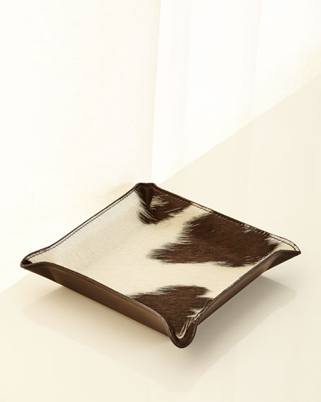 Calf Hair Valet Tray, White/Black