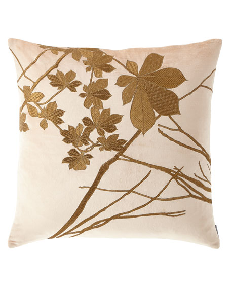 Lili Alessandra Leaf Decorative Velvet Pillow