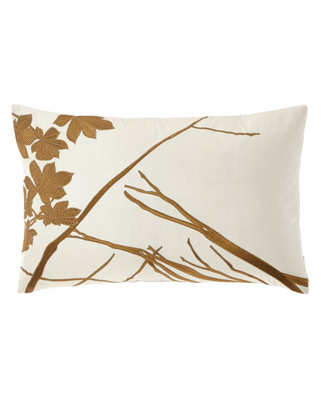 "Leaf Decorative Embroidered Pillow, 14"" x 22"""