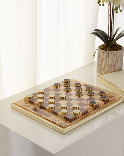Faux-Shagreen Checkers Set  Cream