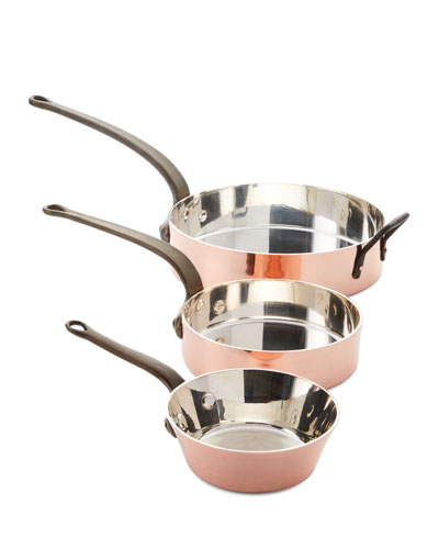 Solid Copper Silver-Lined Pans  Set of 3
