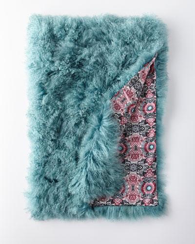 Large Mongolian Lamb Fur Throw, Blue