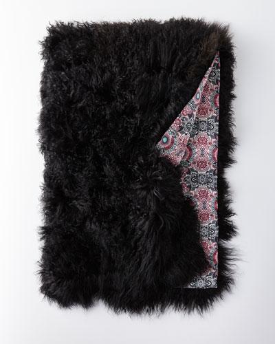 Large Mongolian Lamb Fur Throw, Black