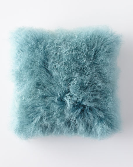 Mongolian Lamb Fur Pillow, Blue
