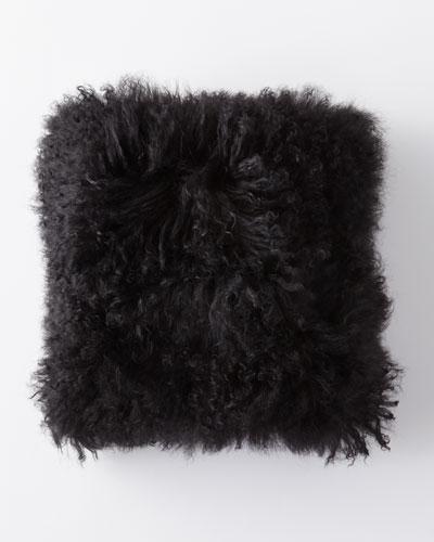 Mongolian Lamb Fur Pillow, Black