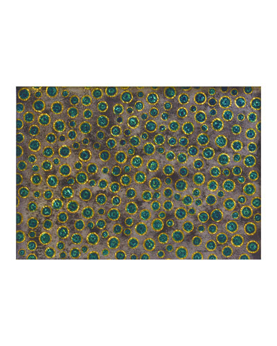 Green Bubble Glass Painted Mirror Placemat