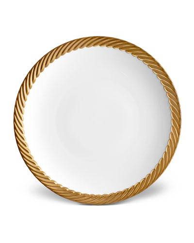 Corde Dinner Plate, White/Gold