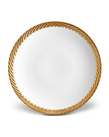 L'Objet Corde Salad/Dessert Plate, White/Gold