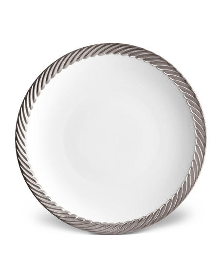Corde Dinner Plate, White/Silver