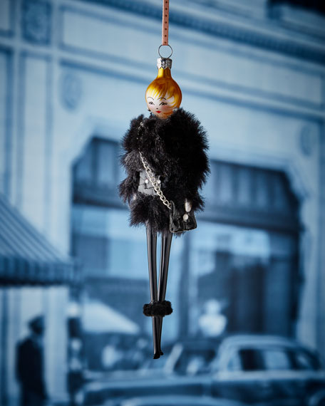 De Carlini Rose in Faux-Fur Jacket Ornament