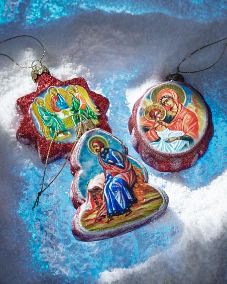 G. Debrekht Story of Nativity Glass Ornaments, Set