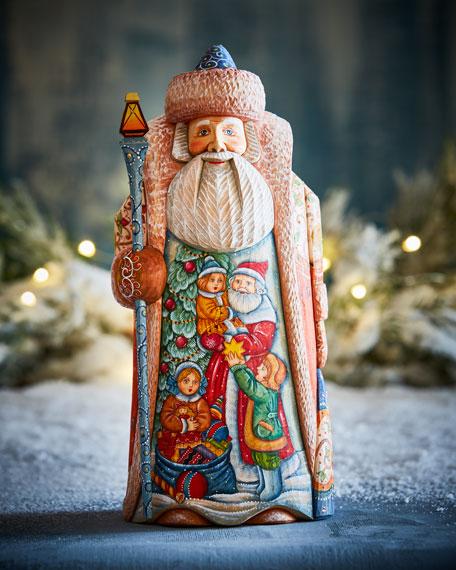 G. Debrekht Holiday Joy Wood-Carved Santa