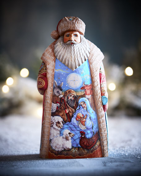 G. Debrekht The Nativity Special Edition Wood-Carved Santa