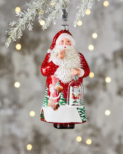 Glass Bell Santa Ornament