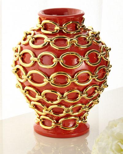 Gold Chain Wrapped Vase  Orange