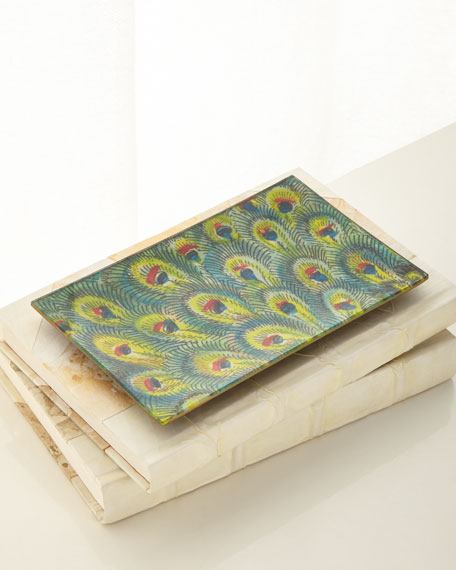 John Derian Peacock Feathers Tray