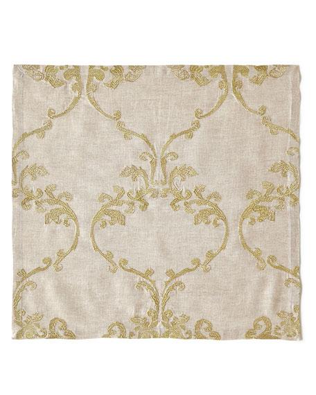 Kim Seybert Caravan Embroidered Linen Napkin, Neutral Pattern