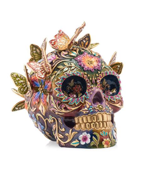 Skull with Butterflies Figurine