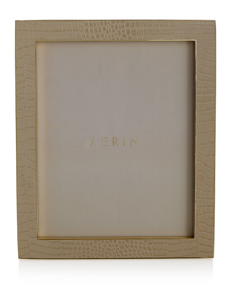 "Classic Croc-Embossed Leather Frame, 8"" x 10"""