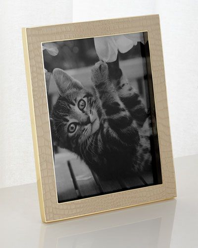 Classic Croc-Embossed Leather Frame  8 x 10