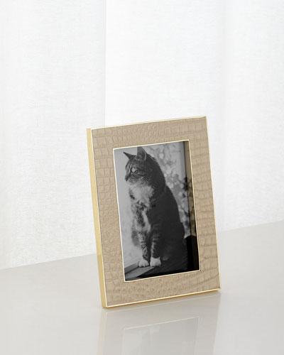 Classic Croc-Embossed Leather Frame  4 x 6